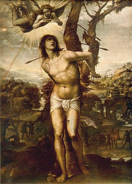 Saint Sebastian, d. 288. Early Christian persecuted by the Romans. A popular saint, especially among soldiers and athletes who often wear his medal.