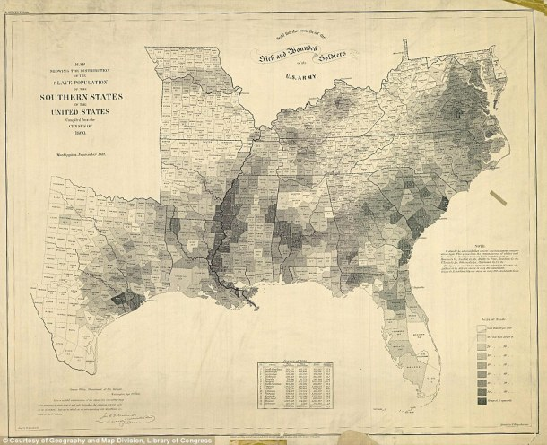 1860 map of slave-owning counties